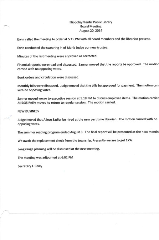 August 2014 board meeting minutes