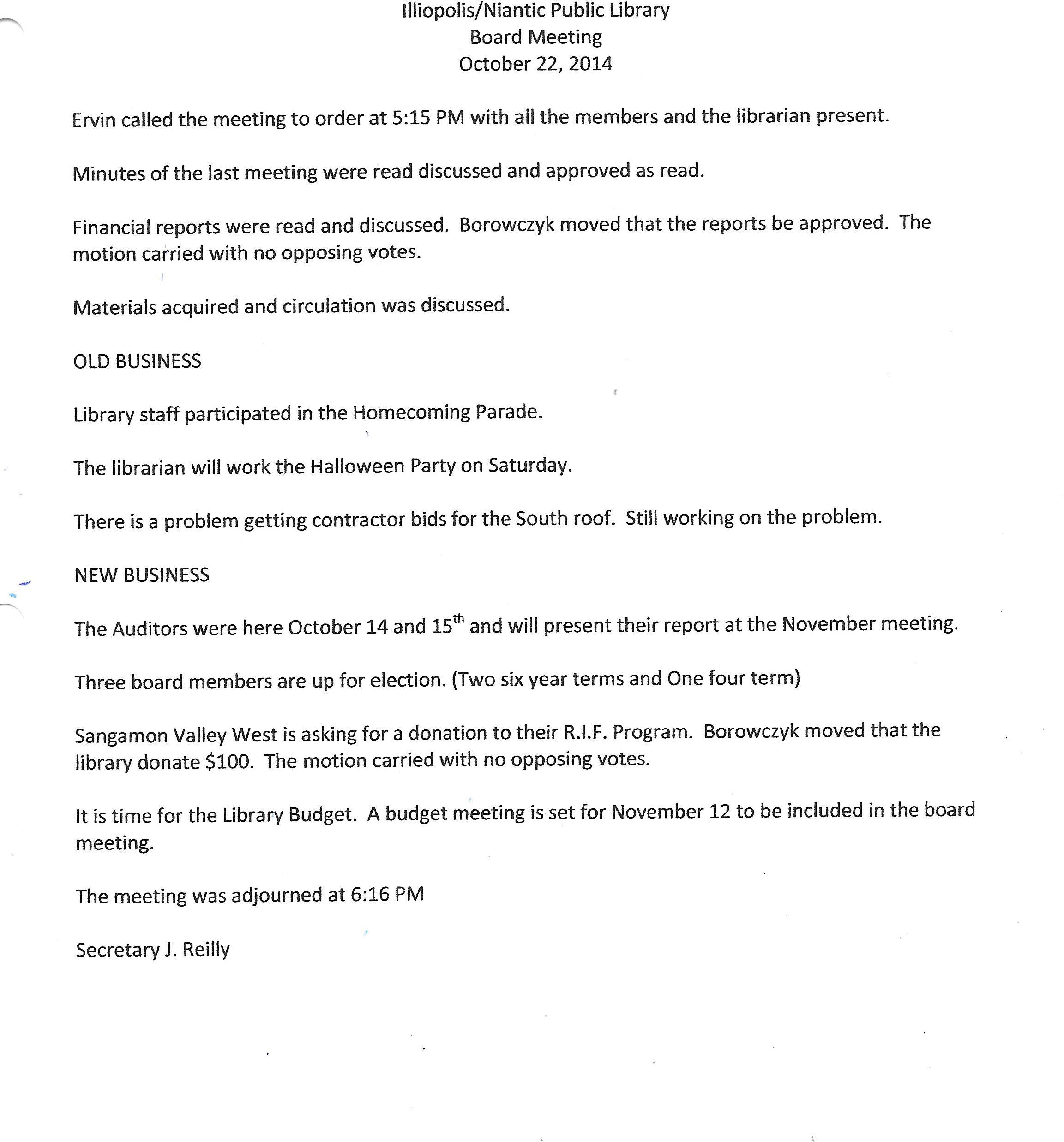 October 2014 board meeting minutes